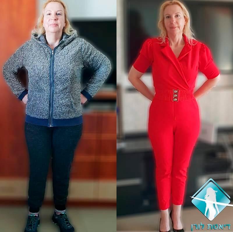 דיאטת לורן - גלינה דיקר ירדה 12 קילו ועדיין בתהליך ההרזיה תמונה לפני אחרי